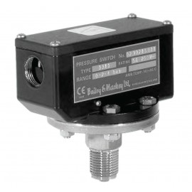 Bailey & Mackey Pressure Switch Type 1381 for ranges from -1 to + 42 Bar, fixed switching hysteresis.